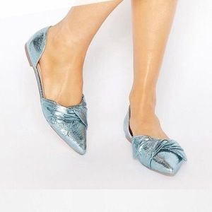 ASOS pointed bow metallic flats sz 9